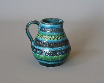 BITOSSI Rimini Blu Vase or Jug, Designed by Aldo Londi, Handcrafted Italian Vase, Made in Italy, Classic Mid Century Modern Italian Ceramics