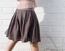 Grey silk cotton batiste zipper summer skirt