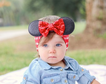 Baby girl headband, mouse inspired head wrap, mouse ears, baby head wraps, baby bows, infant headbands, red and black, mouse birthday