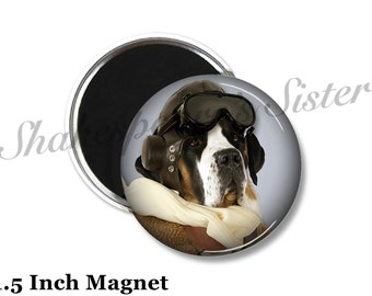 Saint Bernard Magnet - Fridge Magnet - Steampunk Dog - 1.5 Inch Magnet - Kitchen Magnet
