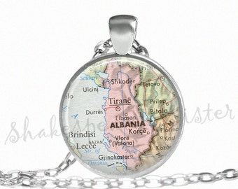 Albania Map Necklace - Albania Necklace - Map Pendant - Albania Jewelry - Pendant Necklace