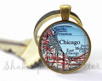 Chicago Keychain - Chicago Key Chain - Illinois Keychain - Chicago Map Keychain - Vintage Map Key Chain