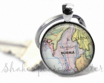 Burma Map Keychain - Burma Key Chain - Map Key Chain - Burma Keychain