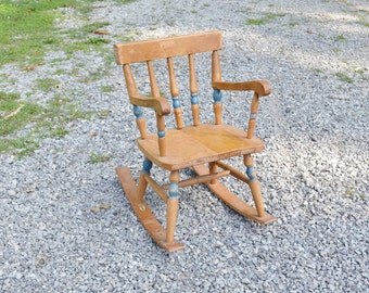 Vintage Childs Rocking Chair Wood with Blue Paint Accents Rustic Photo Prop Display PanchosPorch