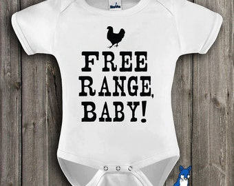 Country Baby Clothing, Free Range Baby, Farm baby,Funny baby clothing, baby boy, baby girl,cute baby clothes by BlueFoxApparel *293