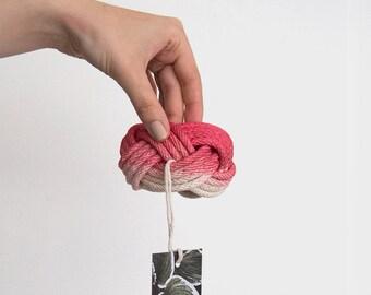 Pink dyed bangle, hand dyed bracelet, hand dyed bangle, chunky bracelet, macrame bracelet, chunky bangle, rope bracelet, nautical bangle