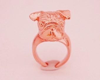 Rose Gold Pug Ring