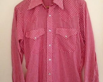 Vintage Mens Sheplers Red and White Checkered Gingham Western Style Shirt Size Small