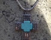 Cross Necklace Large, Unisex Mosaic Turquoise Howlite, Large Men's Cross Necklace, Unisex Cross Necklace, Handmade Unique Cross Necklace,