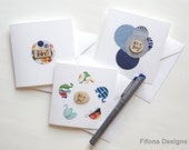 ITS A BOY Engraved Wooden Disk Pattern Card - New Baby Card, Blank Card, Notelet