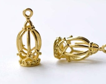 Gold Bird Cage Pendants Charms 7x15mm Set of 10 A8158