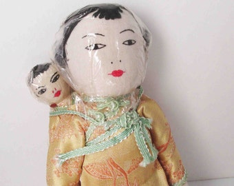 Asian Oriental Cloth Doll Made In Hong Kong - Vintage Ada Lum Style Doll - 12 Inches