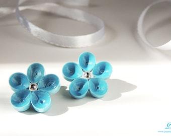 Blue flower earrings wedding anniversary jewelry