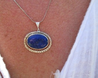 Lapis and Sterling Pendant Necklace