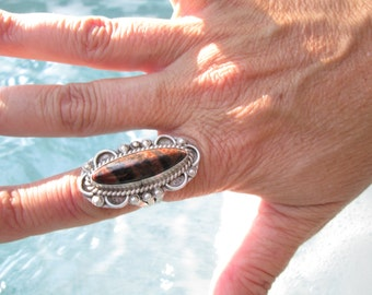Native American Petrified Wood and Sterling Ring Size 7.75