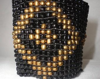 Egyptian Inspired Black&Gold Glass Bead Bracelet*******.