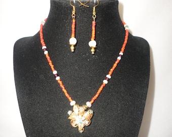An Elegant Coral Garnet Necklace Set