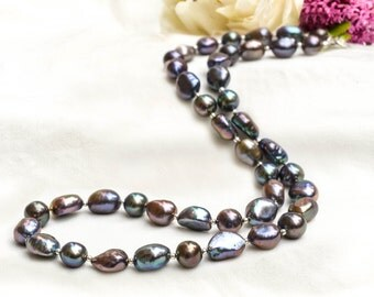 Feshwater Pearl Necklace with  925 sterling silver *Free worldwide shipping*