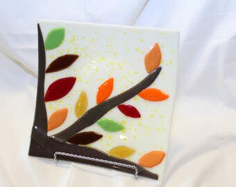Fused Glass Plate - Square Fused Glass Plate - Autumn Leaves Plate - Fall Fused Glass Plate