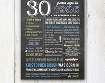SALE 1986 birthday gift - 30th birthday gift idea - Personalized 30th birthday poster for him - DIGITAL file!