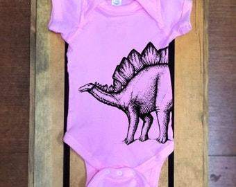 Dinosaur One Piece. Stegosaurus Baby Clothes. Funny Baby Clothes. Hipster Baby Clothes. Baby Girl. Geeky. Dinosaur Baby Bodysuit.