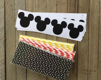 Mickey Mouse Vinyl Chalkboard Labels - 60 Pack Mickey Mouse Themed Paper Straws Red, White, Black, Yellow - 75-  Birthday Party Supply