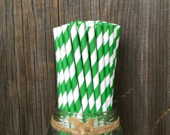 100 Kelly Green Striped Straws, Paper Straws, Birthday Party, Cake Pops, Christmas Straws