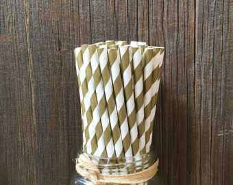 100 Gold Striped Straws, Wedding, Anniversary , Gala, Birthday Supply, Paper Drinking Straws