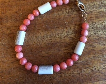 Ivory and Coral Bracelet