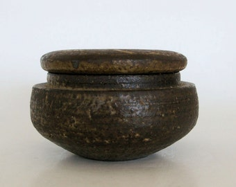 Mobach brown ceramic jar with lid - Vintage Dutch pottery