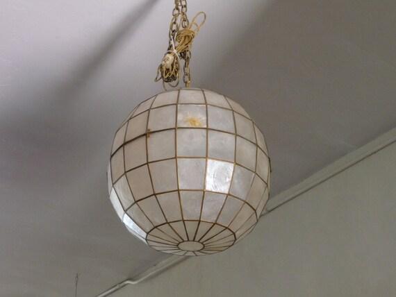 capiz shell pendant chandelier mid century modern lighting. Black Bedroom Furniture Sets. Home Design Ideas