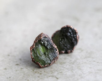 Moldavite Earrings - Sterling Silver Posts - Green Crystal Stud Earrings - Electroformed Raw Crystals