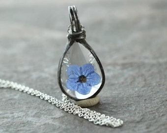 Forget Me Not Necklace Sterling Silver Botanical Soldered Glass Pendant Pressed Flower Terrarium Spring Natural Woodland Jewelry Rustic
