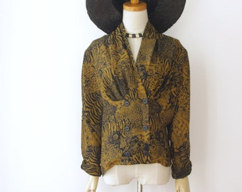 90s Sheer leopard print shirt. Animal print blouse. Batwing sheer leopard top. Witchy top. Goth top. Biker babe