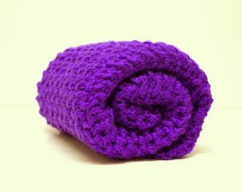 Royal Purple Crochet Baby Blanket, Chunky Security Blanket, Receiving Blanket, Baby Girl Stroller Blanket, Baby Boy Heirloom Crib Blanket