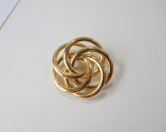 Gold Knot Brooch Pin Gold Circle Brooch Pin Endless Circles Brooch Pin Lightweight Scarf Lapel Vintage Brooch Pin Jewelry