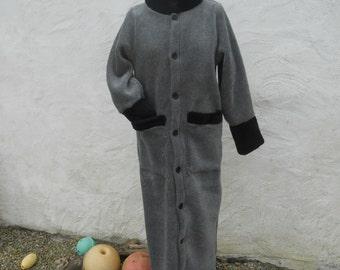 Ladies Fleece Coat,a light Winter Coat, cold winter long coats, stylish, can be a Black Coat, a Handmade Coat, cosy trendy  Womens Coat