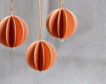 6 paper balls copper paper pendant