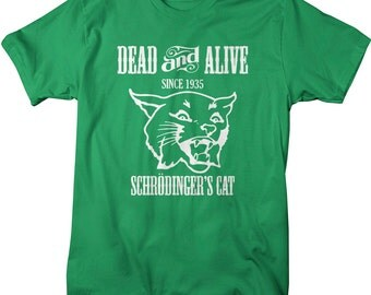 Men's Funny Science Geek T-Shirt Shrodinger's Cat Physics Shirts Paradox Tee For Geeks