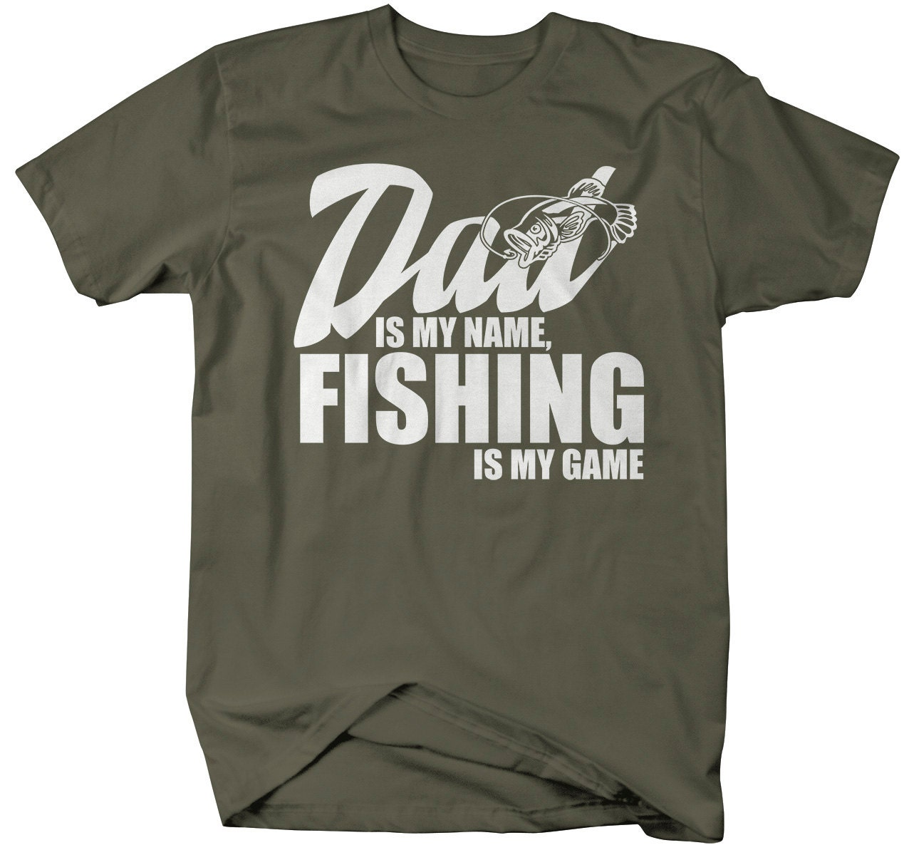 Men 39 s funny fishing t shirt dad is my name by shirtsbysarah for Funny fishing t shirts