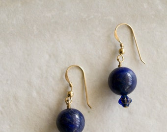 lapis lazuli and vintage czech glass 14k gold fill earrings