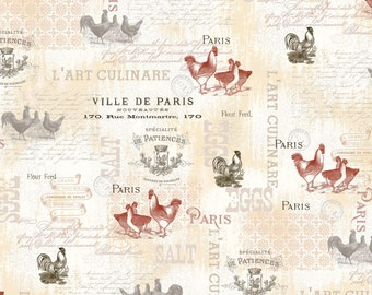 French Rooster & Chicken Fabric - French Country by Candace Metzger, Ophelia Co - 25526 - Priced by the half yard