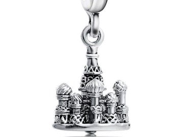 Silver Castle Dangle Charm - Silver Plated Castle - Euro Charm - Euro Bead - Large Hole - Fits European C33