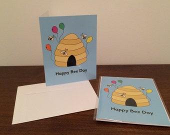 Happy Bee Day Birthday Pun Card