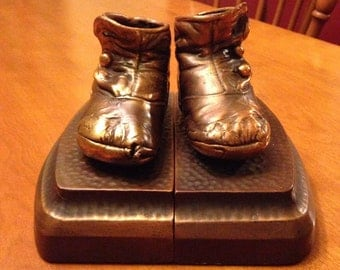 Nice 40's Copper Plated Baby Shoe Bookends