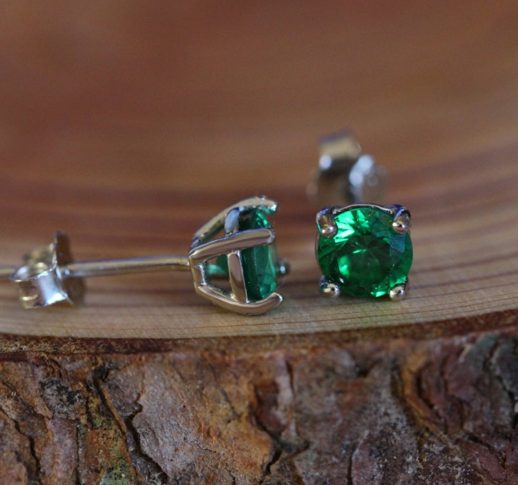 Genuine Emerald Stud Earrings In Solid Sterling By. Heart Shaped Diamond Wedding Rings. Cabochon Sapphire. Mother Child Bracelet. Pink Gold Necklace. Blue Diamond Stud Earrings. Chain Pendant. Diamond Heart Anklet. Pave Diamond Eternity Band