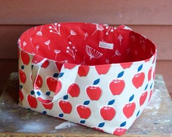 Fabric basket, fabric bin, fabric storage basket, fabric organizer, fabric storage bin, fabric cube, apple pattern, shelf storage