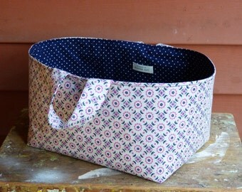 Fabric basket, fabric bin, fabric storage basket, fabric organizer, fabric storage cube, navy nursery, baby girl nursery, fabric basket pink