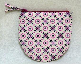 Coin purse, bag, pouch, zipper, navy, purple, pink, round