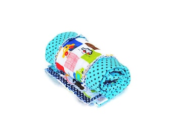 Blue Baby Quilt, Baby Quilt, Baby Rag Quilt, Blue Baby Quilt with Cars
